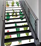 Stair Stickers Wall Stickers,13 PCS Self-Adhesive,Cactus Decor,Mexican South Desert Animals Cactus Plants Skeletons Flowers Cartoon Image,Multicolor,Stair Riser Decal for Living Room, Hall, Kids Room