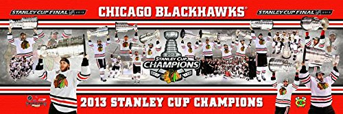 (NHL Hockey Chicago Blackhawks 2013 Stanley Cup - 12x36 Panoramic Photo. Frame Dimensions 15.5 x41 Deluxe Double Matt & Brown