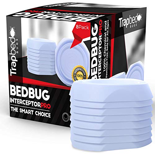 Trapbedbugs Bed Bug Interceptors - Bedbug Traps And Detectors For Bed 8 Pack - Bugs Detector Trap System For Beds - Climb Up Prevention Interceptor Cups - No Pesticides, Chemicals Or Powder - White
