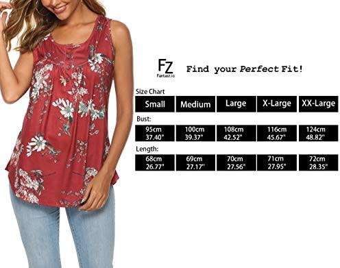 FZ FANTASTIC ZONE Women's Summer Sleeveless Button Up Casual Loose Tank Tops Tunic Shirts Blouses 6
