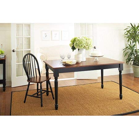dens Autumn Lane Farmhouse Dining Table, Black and Oak + Cleaning Towelette ()