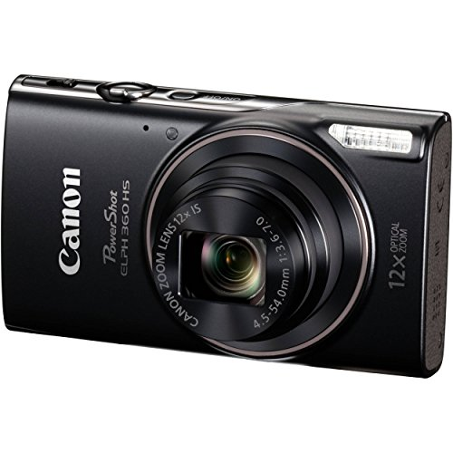 Canon PowerShot ELPH 360 Digital Camera w/ 12x Optical Zoom and Image Stabilization - Wi-Fi & NFC Enabled (Black) (CERTIF1ED (Canon Powershot Image Stabilizer)