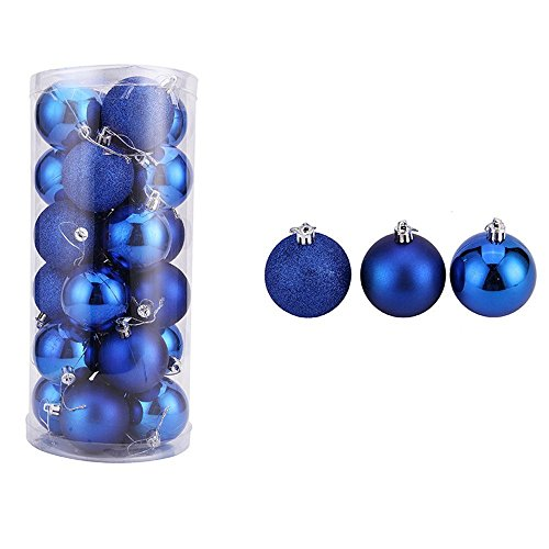 24pcs Christmas Party Balls for Christmas Tree Ornaments Home Birthday Party Garden Decoration Balls (Navy, 6CM)