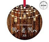 First Christmas Wedding Ornament 2020 First christmas as Mr and Mrs Christmas Married Ornament Barnwood Brown