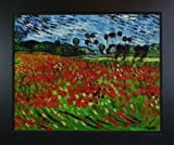 overstockArt Van Gogh Field of Poppies with New Age Wood Frame, Black Finish