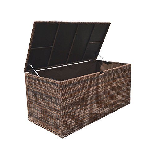 Style 1 ESPRESSO 64'' x 30'' x 30'' Large Wicker Storage Box Chest Deck Poolside Storing Patio Case by Generic