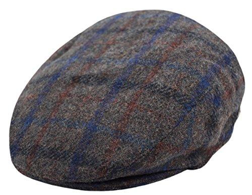 - Classic Men's Flat Hat Wool Newsboy Herringbone Tweed Driving Cap (IV2148-Gray Plaid, X-Large)