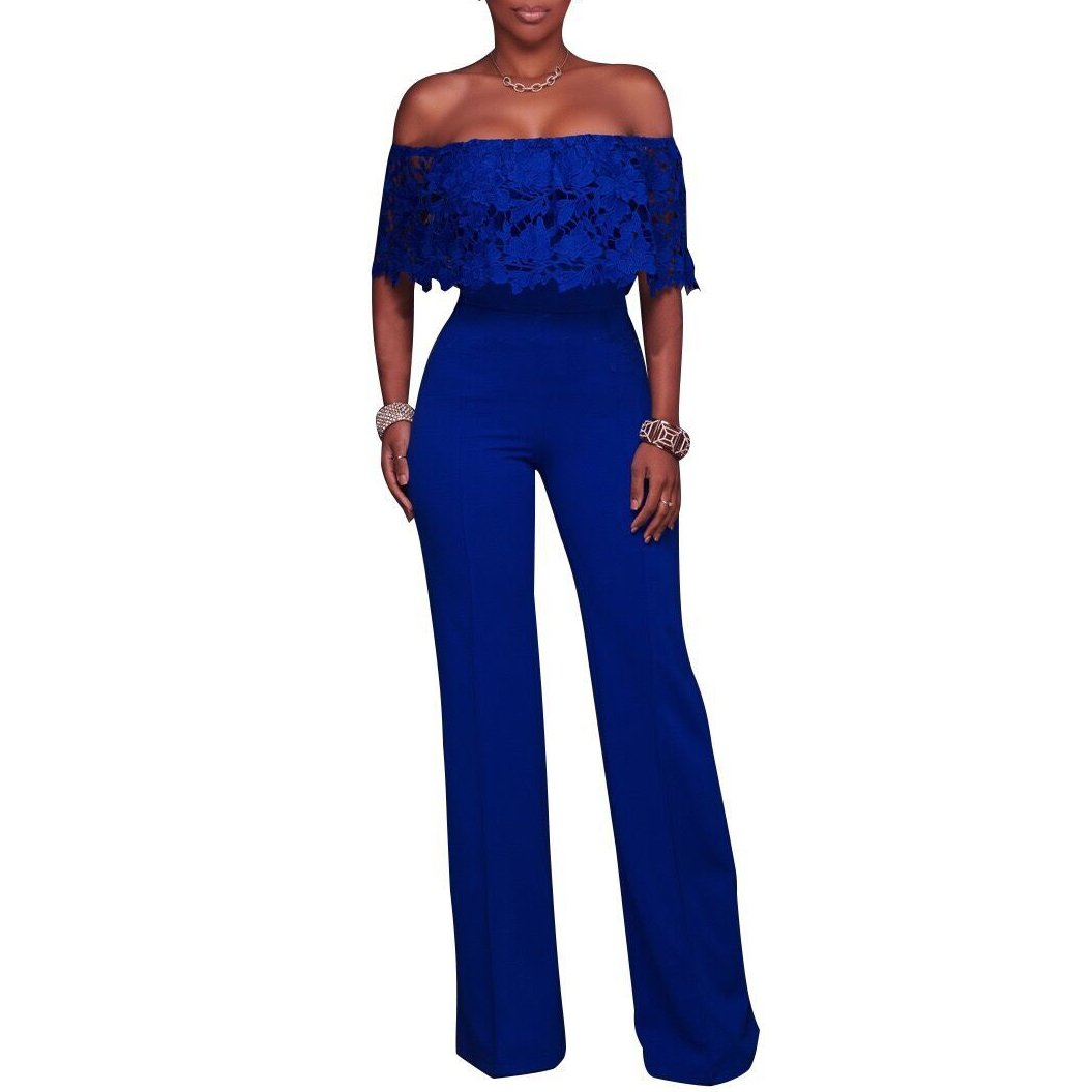 Synker Damen Jumpsuit Schulterfrei Wide Leg Lang Hosen Overall Playsuit Party Abendmode