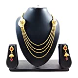Luxaim Stylish Latest New Stylish Fashionable Gold-Plated Traditional Necklace Set with Earrings, Designer Necklace Set/Haar Set for Girls, Women, Ladies with Crystal Stone, New Party Wear/Wedding Wear Special Fashion Ornament Wedding Collection Accessories Design at Low Price Cost Great for Jewellery Festival Gift for Girlfriend & Sister (Golden)