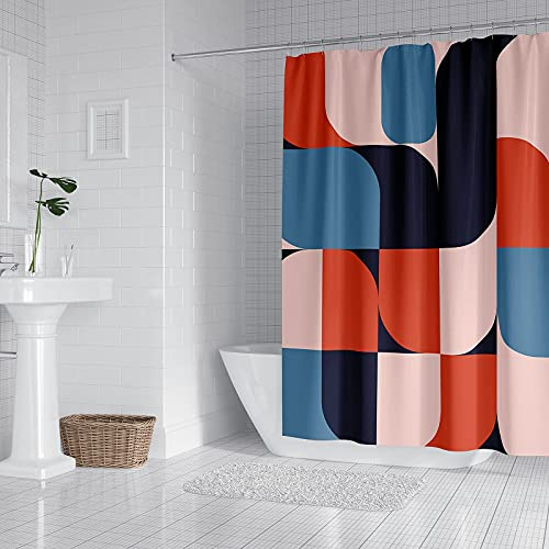 """Kornculor Colorful Shower Curtain Waterproof Fabric Shower Curtains Set with 12 Curtain Rings for Bathroom/ Hotels/ Bathtubs, 72""""x72"""""""