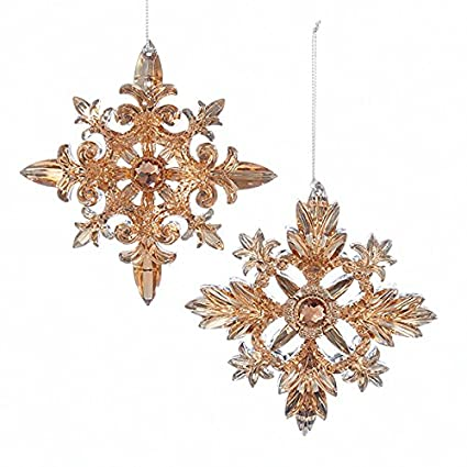 kurt adler 2 assorted acrylic rose gold snowflake christmas ornaments