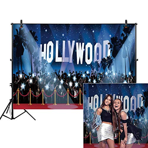 Allenjoy 7x5ft Photography Backdrop Hollywood Night Movie Premiere Birthday Adult Party Banner red Carpet Background Props Photo Studio Booth]()