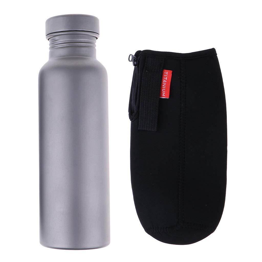 P Prettyia Sports Trinkflasche Metall Flasche mit Hülle für Das Laufen, Fitness, Yoga