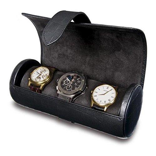 Rapport London Black Leather Three Watch Roll by Allurez