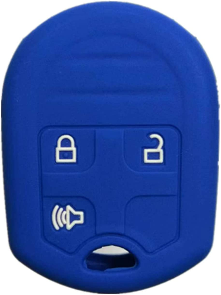 RUNZUIE Silicone Keyless Entry Remote Key Fob Cover Case Fit for Ford Edge Explorer Flex Escape Expedition Fusion Taurus Taurus X Focus Mustang Blue 3 Buttons