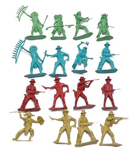 50 Pcs Indians Cowboys Western Figures Plastic Toys by Hunson