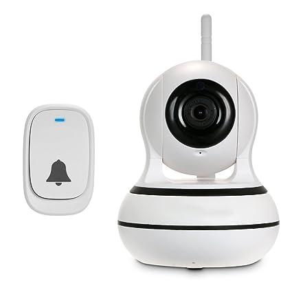 OWSOO Cámara IP 1080P PTZ Cámaras en Domo WiFi 433MHz Alarma Antirrobo Vídeo Audio Bidireccional Cámara de Seguridad Inalámbrica con Visión Nocturna ...