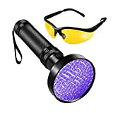 Ka June UV Flashlight 100 LED 395 nm Ultraviolet Blacklight Flashlight Professional Detector for Pet Urine Stains, Bed Bugs, Fluorescent Agent, Scorpions, UV protective glasses Included.