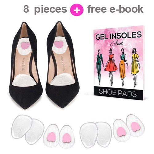 Happy by You 4 Pairs (8 Pieces) Gel High Heel Inserts - Ball of Foot Cushions and Heel Pads. Cushion Absorbs Shock, Relieves Foot and Back Pain, Making Your Heels (Heel Fat Pad)