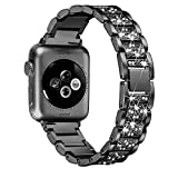 Secbolt Bling Bands Compatible Apple Watch Band 42mm 44mm Iwatch Series 4 3 2 1, Metal Rhinestone Bling Replacement Wristband, Black