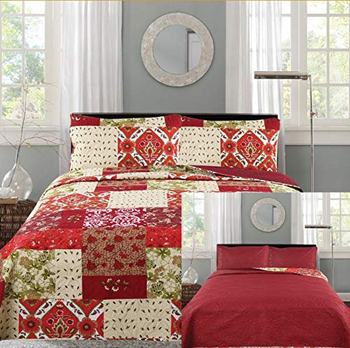 All American Collection New 3pc Printed Reversible Modern Floral Bedspread Coverlet (King)