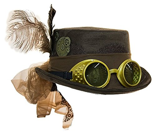 Jacobson Hat Company Deluxe Velvet 4.25 Inch Steampunk Top Hat With Removable Goggles (Brown), One Size for $<!--$19.50-->