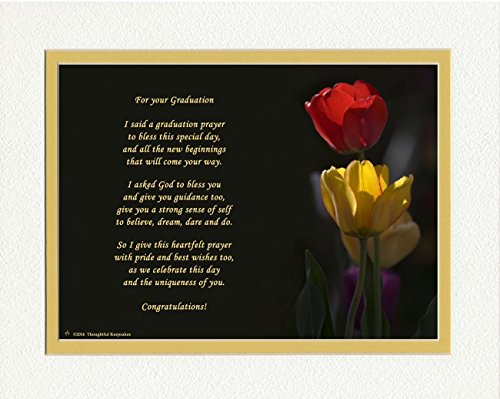 (Graduation Gifts with Graduation Prayer Poem Tulips Photo, 8x10 Double Matted. A Special Keepsake Gift for Graduate. Unique High School or College)