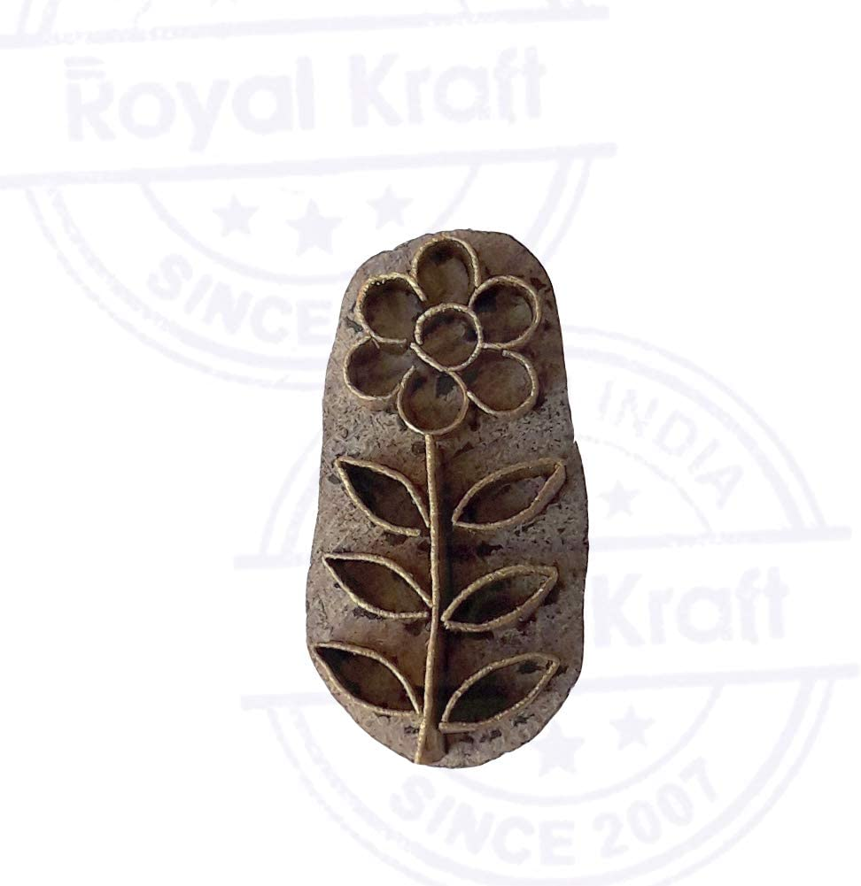 Handcrafted Wood Block Brass Leaf Shapes Clay Printing Stamp