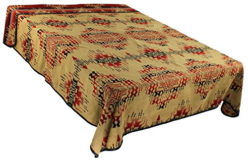 (Splendid Exchange Southwestern Bedding Freedom Collection, Mix and Match, Queen/Full Size Reversible Bedspread, High Noon Tan and Red)