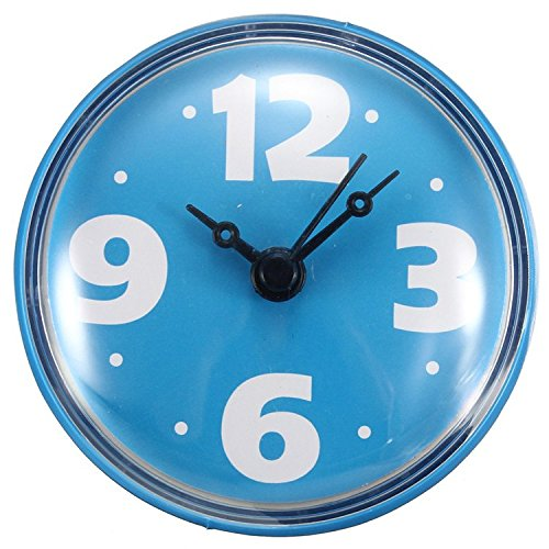 Shop24Hrs Bathroom Glass Tile Wall Window Mirror Waterproof Clock With Sucker Blue Color (Whirly Suckers)