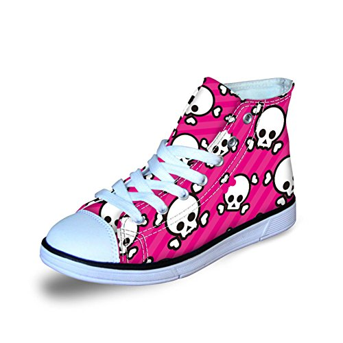 (Coloranimal Classic High Top Canvas Shoes for Kindergarten Baby Flats Skull Pattern Road Walking Sneakers Lightweight Lace-up Footwear)