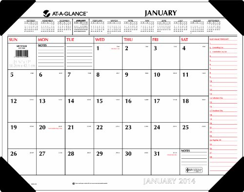 AT-A-GLANCE 2014 Two-Color Desk Pad, 22 x 17 Inches (SK1170-00)