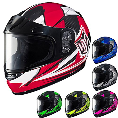 HJC CL-YSN Striker Full Face Youth Snow Helmet Framed Dual Lens Shield (MC-1 Red, Medium) (Youth Snowmobile Helmet)