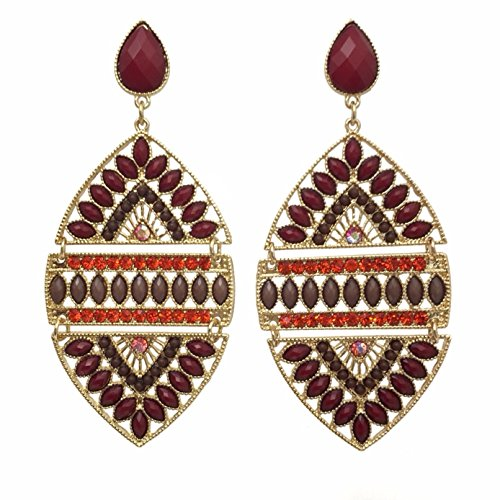 - Large Dark Red Brown Gem & Orange Rhinestone Gold Tone Multi Color Post Dangle Bohemian Style Earrings