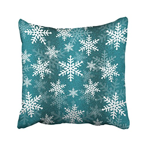 Emvency Pillowcases Xmas New Year Teal Blue and White Snowflake Ombre Decorative Cushion Cover Case Throw Pillow Cover Case Protectors Square 18x18 Inches Two Side Sofa Couch