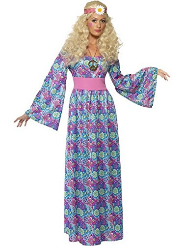 Smiffy's Women's Flower Child Costume Maxi Dress with Waist Tie and Bell Sleeves, Multi, 1X (Adult Flower Halloween Costume)