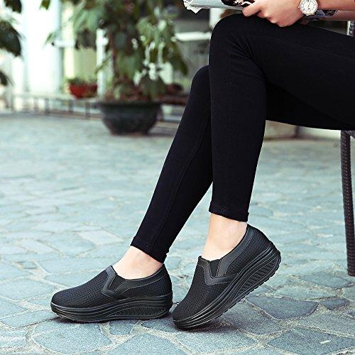 Enllerviid Kvinnor Halkar På Mesh Platåskor Forma Upp Walking Fitness Toning Sneakers 1608 Svart