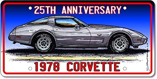 - 1978 25th Anniversary Edition Corvette License Plate Art