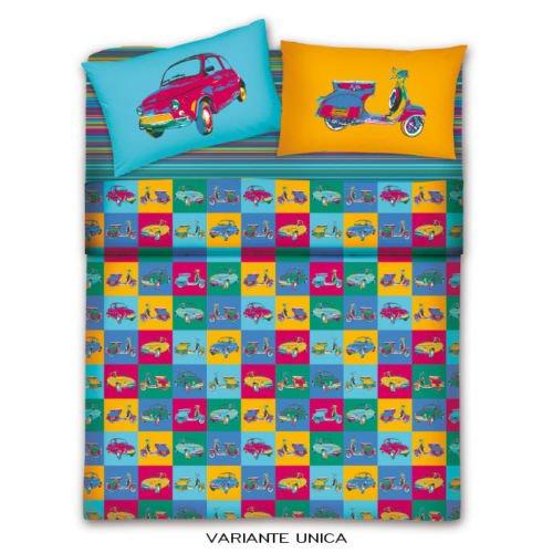Copripiumino Vespa.Biancheriaweb Bed Linen Set For With Vintage Vespa 500 Pop Art