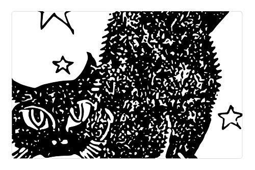 (Tree26 Indoor Floor Rug/Mat (23.6 x 15.7 Inch) - Cat Black Stars Halloween Feline Kitten)