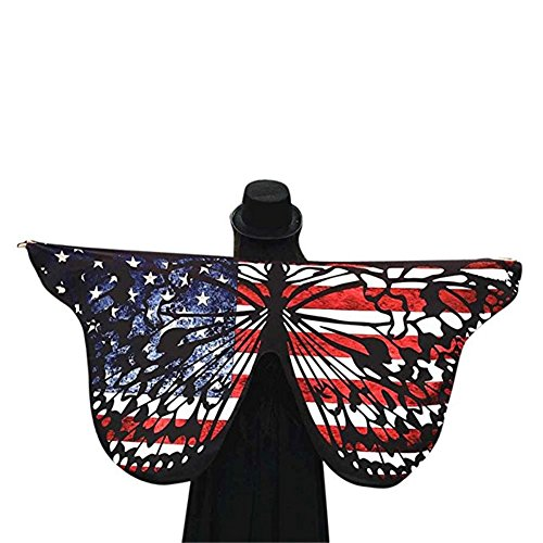 Summer Fairy Lace Wings - Mexidi Soft Fabric Butterfly Wings Shawl Fairy Women's Nymph Pixie Scarves Costume Accessory (American Flag D)