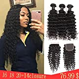 Brazilian Deep Wave Human Hair Bundles With Closure Human Hair Bundles With 4x4 Lace Closure Free Part,100% 9A Unprocessed Curly Human Hair Extensions Can Be Dyed and Bleached(16'' 18'' 20''+14''closure)