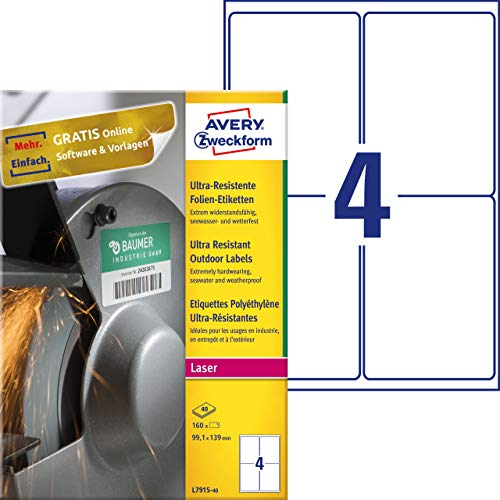 AVERY Zweckform L7915-40 Film Labels A4 160 Stickers Ultra Resistant 99.1 x 139 mm 40 Sheets White