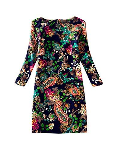 J.cotton Autumn /Winter Floral Print Long Sleeve Boat Neck A-line Midi/ Tunic Casual Dress (L, J-D-16) (Silk Cotton Boat Neck)