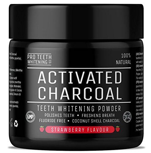 Activated Charcoal Natural Teeth Whitening Powder Strawberry Flavour by Pro Teeth Whitening Co® | Manufactured in the UK