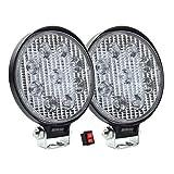 Par de Faros de LED diseño Redondo con 27w de Luz Concentrada Blanca con 9 leds tipo 3030