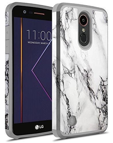 LG K20 Plus Case, LG K20 V Case, LG K20 Case, LG Harmony Case, LG Grace Case, Rosebono Hybrid Graphic Colorful Silicone Skin Case for LG LV5 (White Marble)