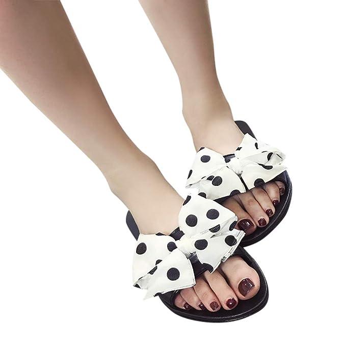 Bestow Sandalias y Zapatillas de Playa para Mujer Planas con un Lazo en el Exterior con Zapatillas de Playa: Amazon.es: Ropa y accesorios