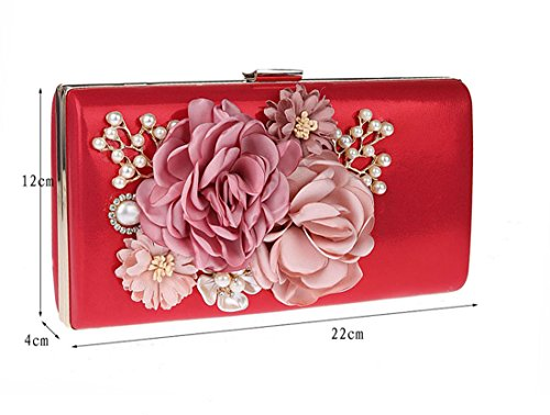 Fleurs Embrayage Pochette KAXIDY Pochette Sac Mariage Rouge de élégantes soirée 4qRwtYd
