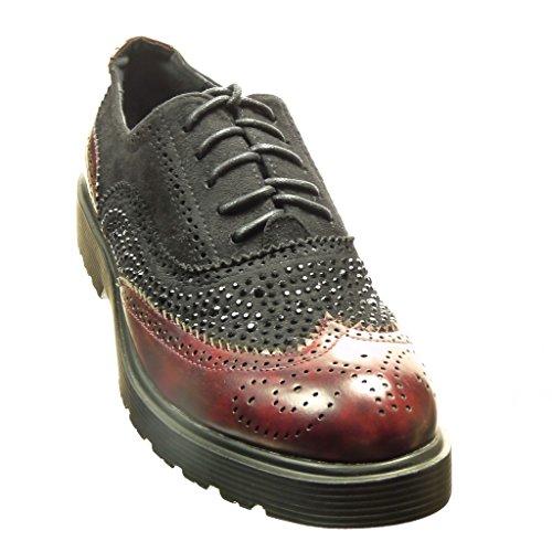 Angkorly - Scarpe da Moda Scarpe brogue scarpa derby bi-materiale donna strass perforato Tacco a blocco 3 CM - Bordo